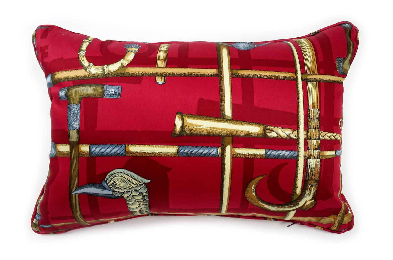 The Fornasetti ピエロフォルナセッティヴィンテージファブリッククッション I BASTONIレッドデザイン 45×30cm 中材付