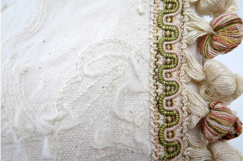 The Vintage ナチュラルウール刺繍ヴィンテージクッションカバー ベージュトリム 45×45cm