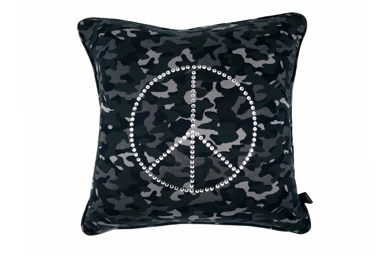 The Peace ピースマークスワロクリスタル迷彩柄クッションカバー ブラック 45×45cm