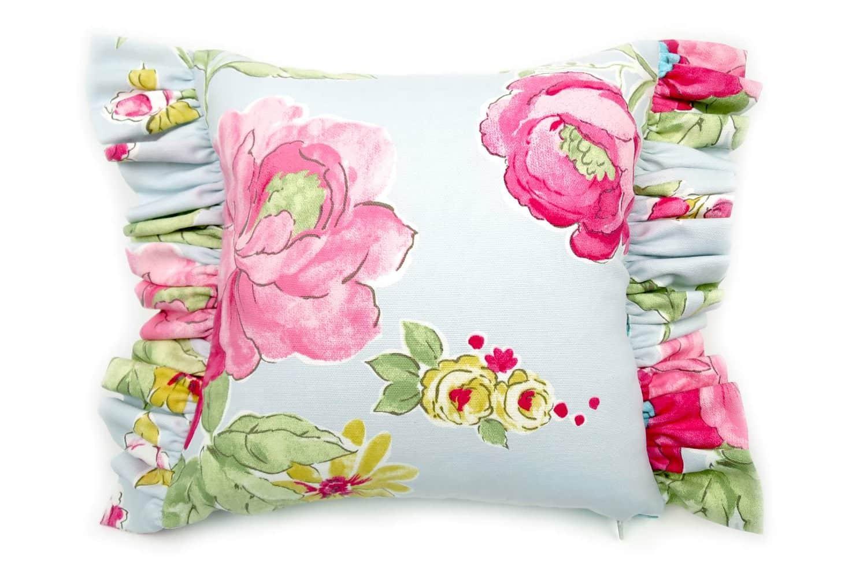 花柄フリルが可愛いLovelyブルーフレンチスタイルクッション