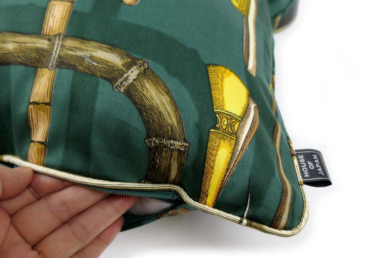 The Fornasetti ピエロフォルナセッティヴィンテージファブリッククッション I BASTONIグリーンデザイン 45×30cm 中材付