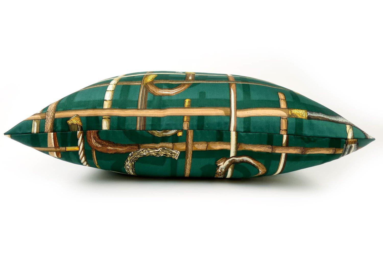 The Fornasetti ピエロフォルナセッティヴィンテージファブリッククッション I BASTONIグリーンデザイン 58×38cm 中材付