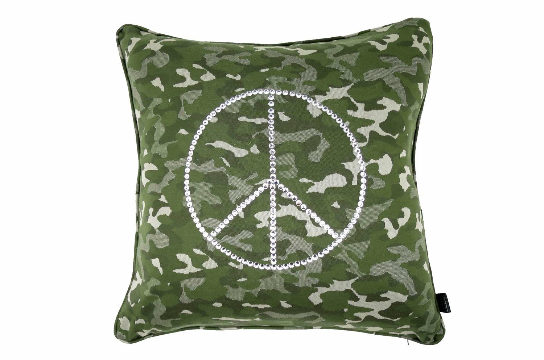 The Peace ピースマークスワロクリスタル迷彩柄クッションカバー カーキ 45×45cm