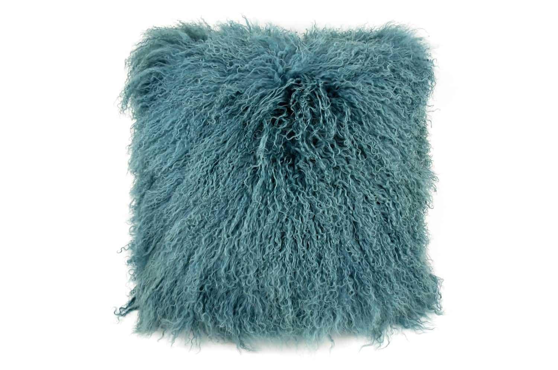 抱きしめて至極の肌触りを!贅沢両面チベットラムオリエンタルブルークッションカバー 45×45