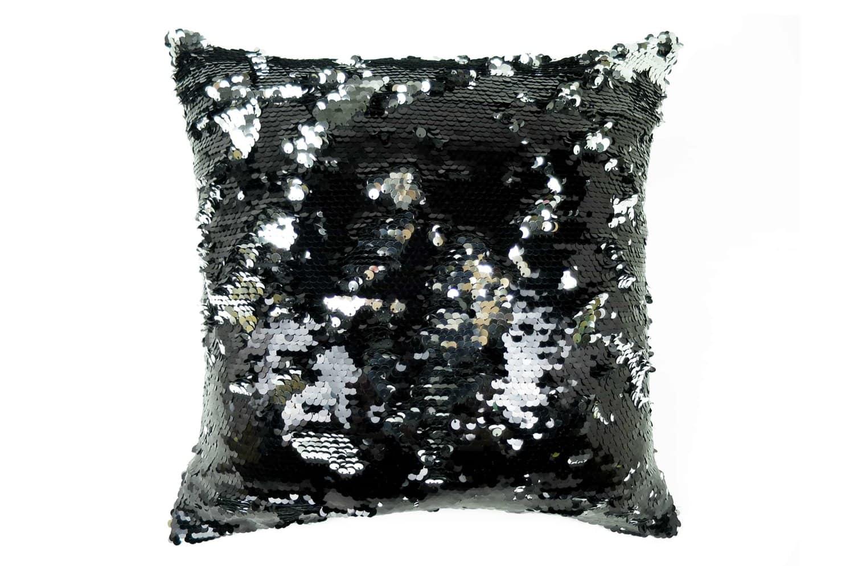 高級感漂うブラックの大粒リバーシブルスパンコールがド派手なクッションカバー 45×45