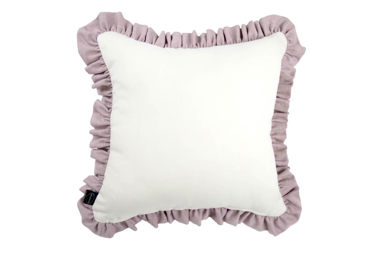 シャビーシック スモーキーピンク 厚手フリル リネンクッション 白40×40