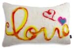 コットン&ウールにポップな『Love』 メッセージ横長背当て大きめクッション 58×38