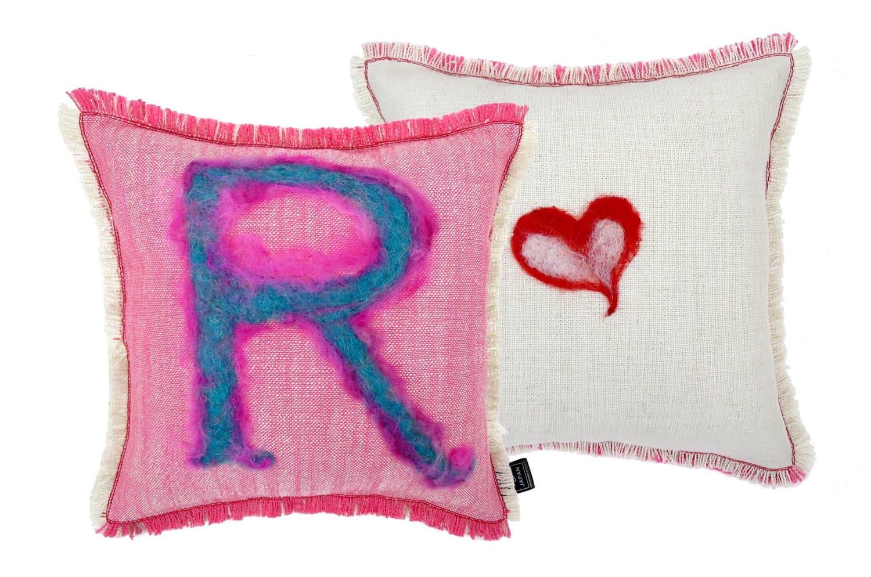 The Message - R ハンドメイドメッセージクッション ピンク ホワイト 35×35cm 中材付
