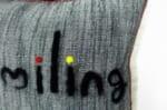 The Message - Smiling ハンドメイドメッセージクッション ブラック ホワイト 35×35cm 中材付