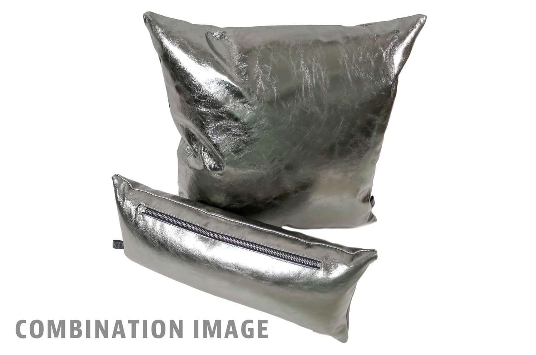 The Metal ヤギ革メタルシルバー箔クッション 45×45cm 中材付