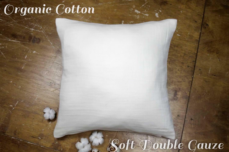 The Organic Cotton ダブルガーゼオーガニックコットンクッションカバー 45×45cm