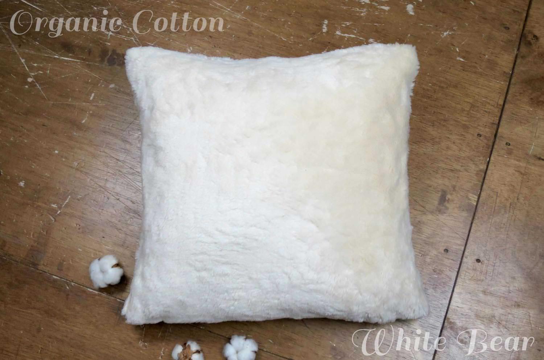 The Organic Cotton ホワイトベアオーガニックコットンファークッションカバー 45×45cm