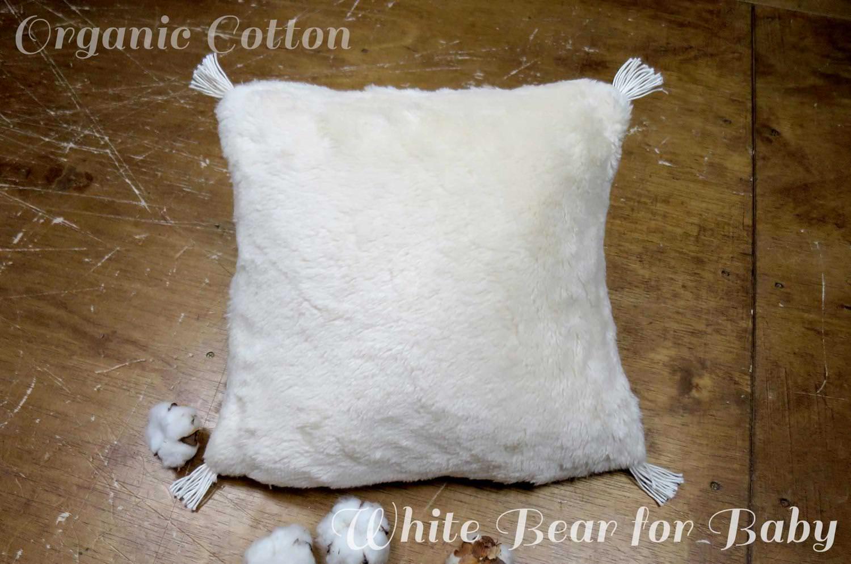 The Organic Cotton ホワイトベアオーガニックコットンファークッション ベビーサイズ 30×30cm 中材付