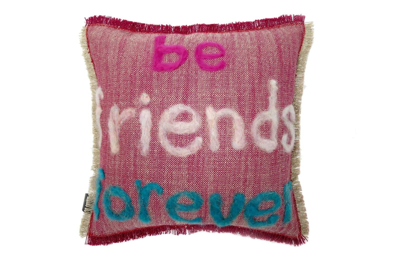The Message - be friends forever ハンドメイドメッセージクッション レッド 35×35cm 中材付