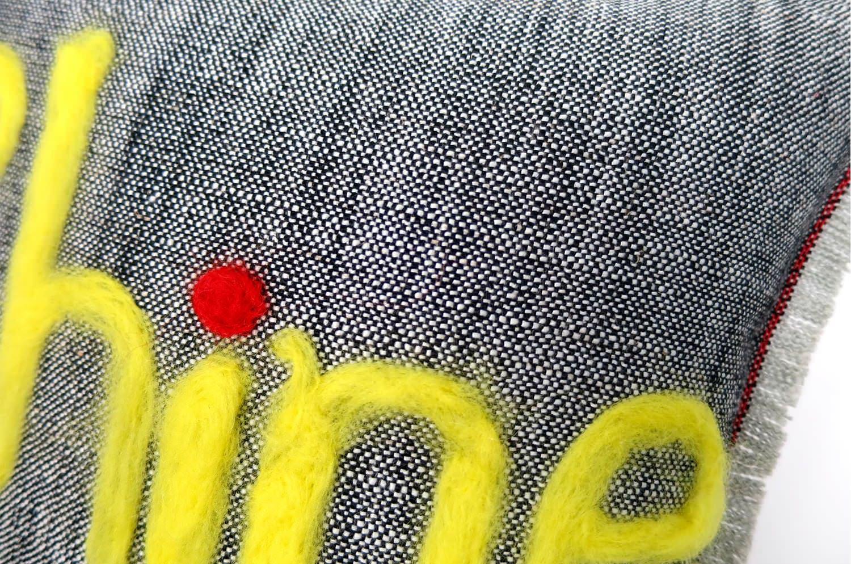 The Message - Shine ハンドメイドメッセージクッション ブラック 35×35cm 中材付