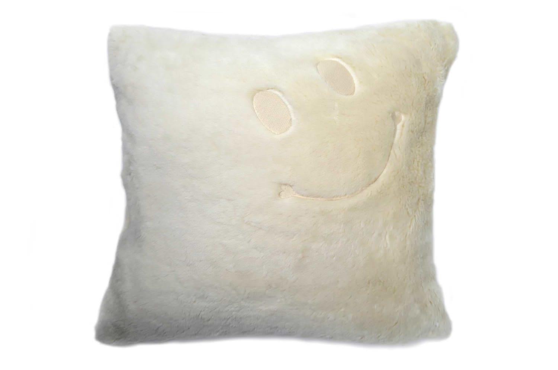 The Smile スマイル キュートオーガニックスマイル 『ニコフェイス®』刺繍クッションカバー オーガニックコットンファー 45×45cm