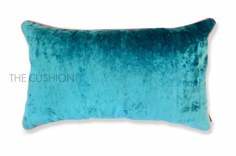 色で選ぶフレンチクッション シアンブルー ベルベット横長 by CASAMANCE(カサマンス)