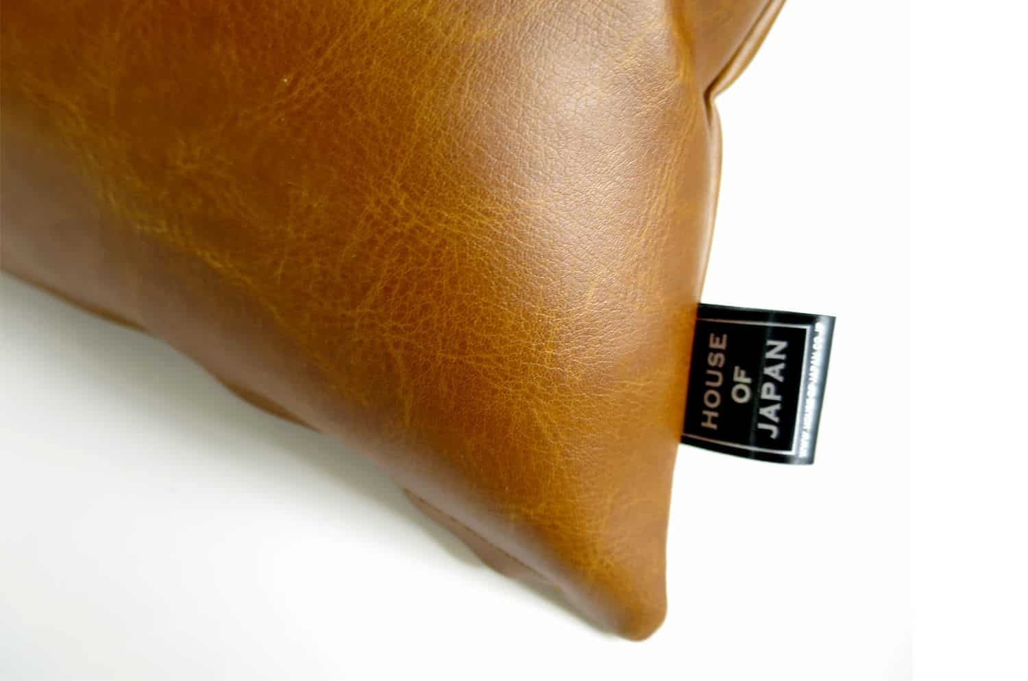 The Soft Synthetic Leather ソフトフェイクレザークッション ライトブラウン 45×20cm 中材付