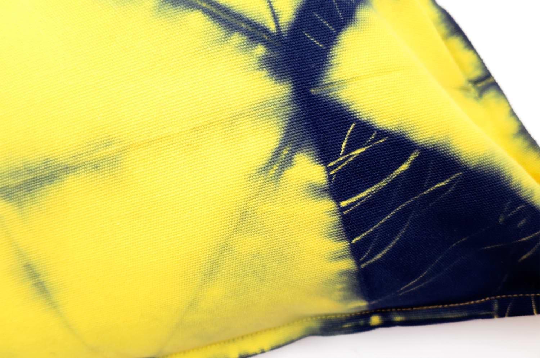 黄色と紺の癒されタイダイ染めクッションカバー 43×46