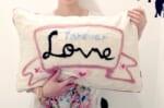 レタードメッセージクッション LOVE!  ハンドメイド大きめクッション 58×38