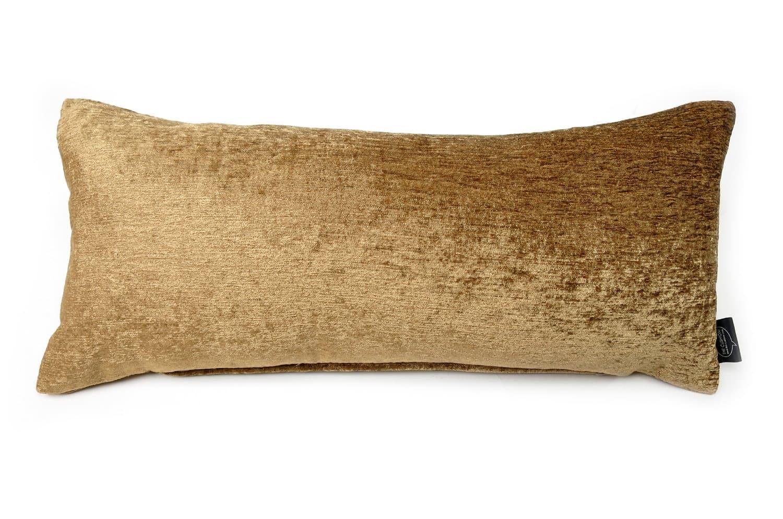 ゴールドブラウン シャインベルベット クッション 45×20