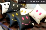 The Chibi Smile チビスマイル キュートゴールドスマイル 『ニコフェイス®』刺繍クッション ヒゲスワロフスキー ホワイト 34×34cm 中材付