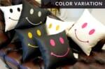 The Chibi Smile チビスマイル キュートゴールドスマイル 『ニコフェイス®』刺繍クッション まつ毛スワロフスキー ホワイト 34×34cm 中材付