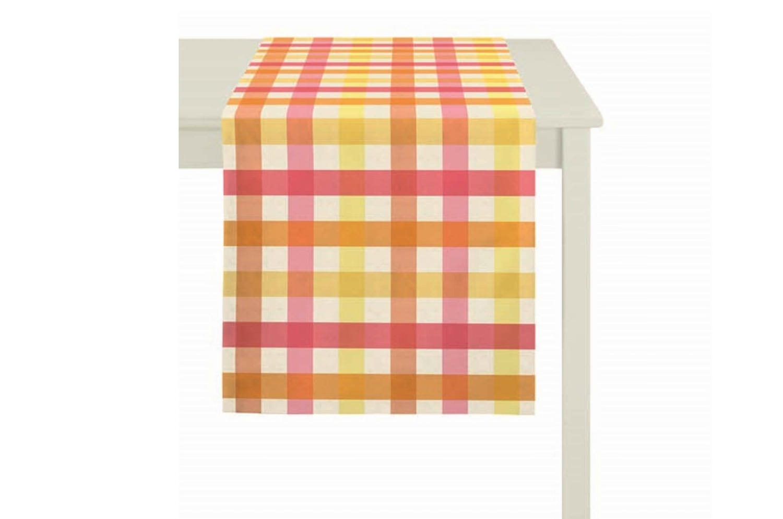 The Table Runner チェック柄テーブルランナー オレンジイエロー 48×135cm