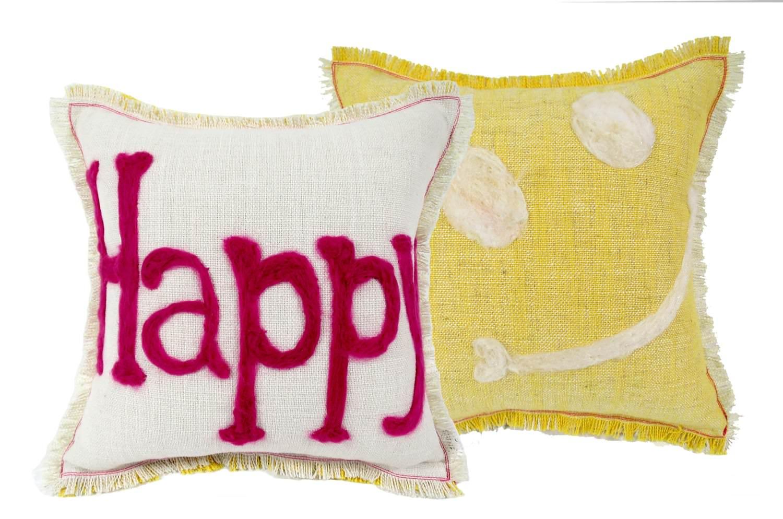 レタードクッション「Happy」♪手作りの優しさをプレゼントにwhite+yellow 35×35