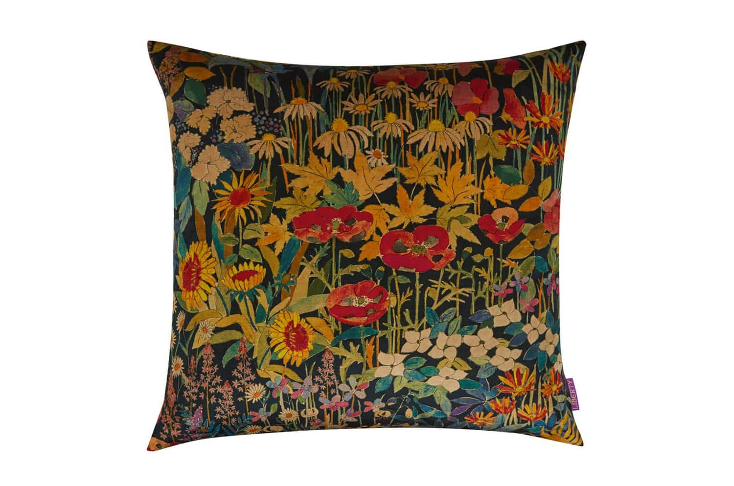 リバティ クッション LIBERTY ART FABRICS FARIA FLOWERS VINTAGE VELVET CUSHION IN MARIGOLD 60×60(中材付)