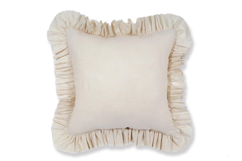 The French Linen フレンチリネンフリルクッションカバー アイボリー 45×45cm