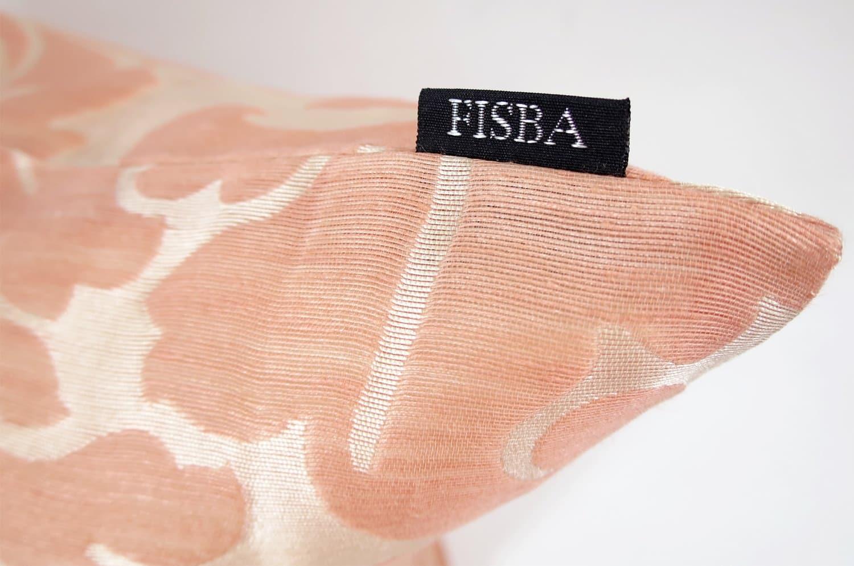 フィスバのシャインレース salmon pink  NOUVELLE クッションカバー 45×45