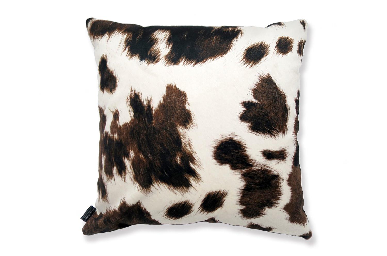 The Cow スペイン製起毛スエードタッチ 牛柄クッションカバー ブラウン 45×45cm