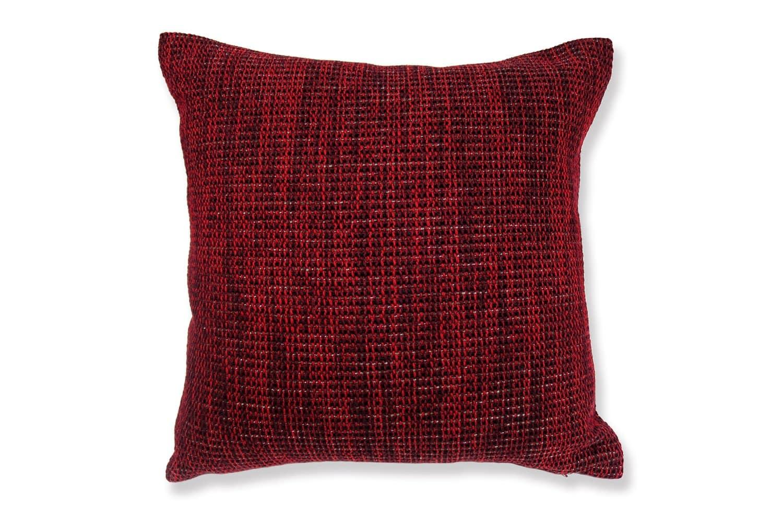 銀糸入り ツイードレッド クッションカバー45×45 赤色