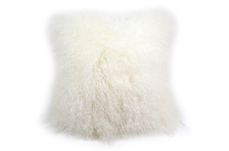 The Luxury Tibet Lamb 両面チベットラムクッションカバー ホワイト 40×40cm