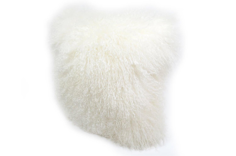 再入荷!ふわふわ豪華♪贅沢両面チベットラムホワイトクッションカバー 40×40