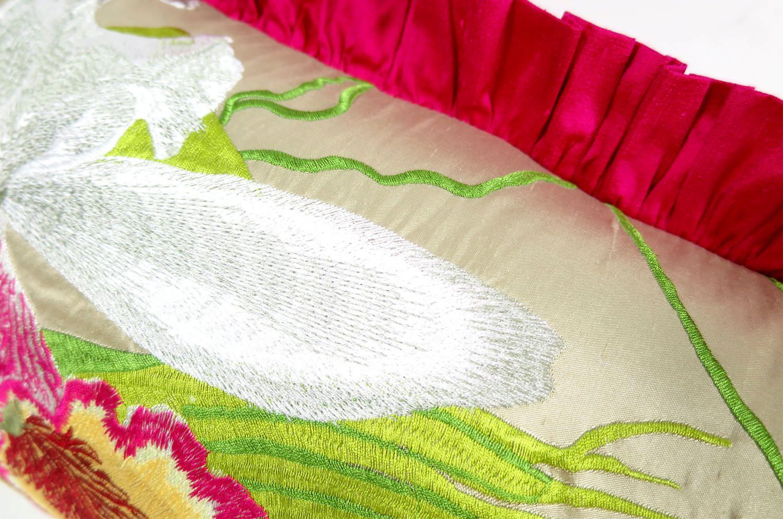 The Silk Taffeta シルクタフタピンクフリルクッション 50×29cm 中材付