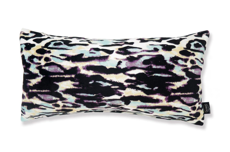 The Purple Leopard スペイン製起毛スエードタッチ パープルレオパード柄クッション 50×25cm 中材付