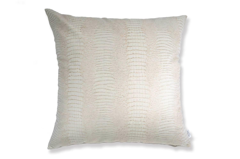 The White Crocodile スペイン製起毛スエードタッチ ホワイトクロコ柄クッションカバー 50×50cm