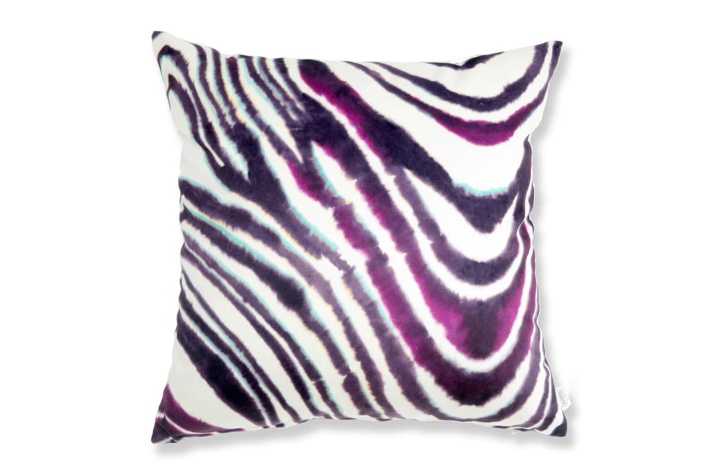 The Purple Zebra スペイン製起毛スエードタッチ パープルゼブラ柄クッションカバー 50×50cm