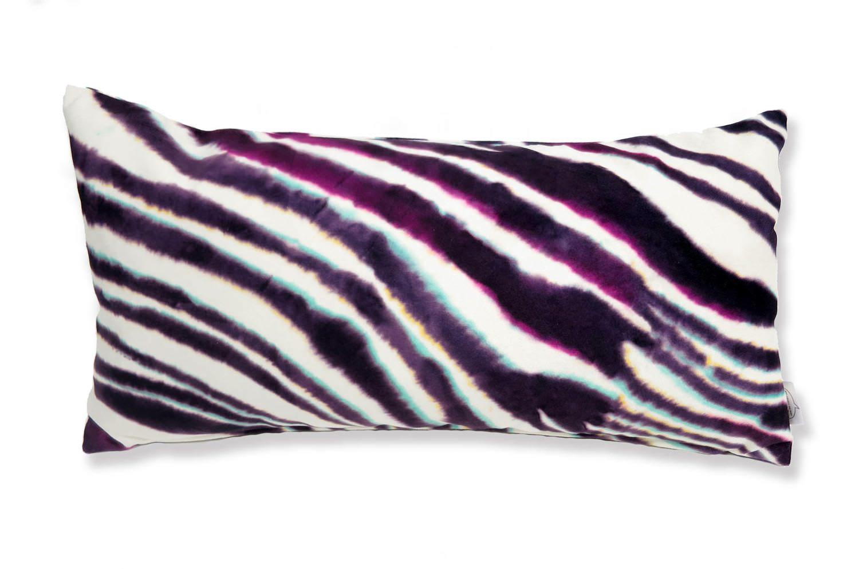 The Purple Zebra スペイン製起毛スエードタッチ パープルゼブラ柄クッション 50×25cm 中材付