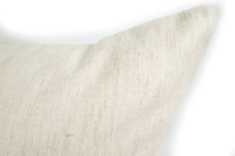 柔らかリネン&コットンクッション アイボリー 45×45 輸入ファブリック