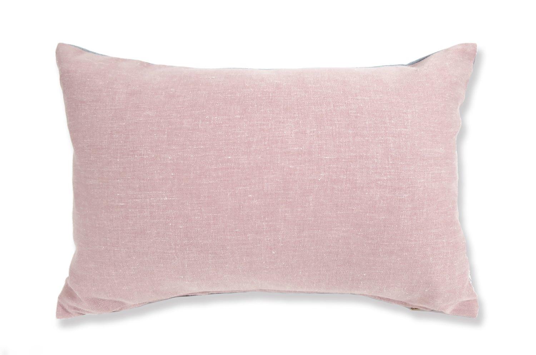 柔らかリネン&コットン Pink×Blue コンビ クッション 45×30(中材付)