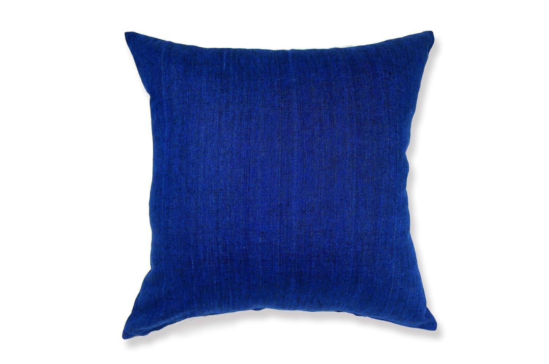 天然素材リネンクッションカバー 柔らかインデゴブルー色 50×50