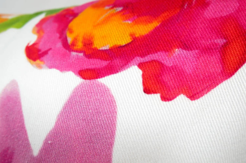 The Flower 鮮麗オレンジイエロー花柄クッションカバー 45×45cm