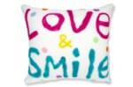 大きなレタードメッセージフリースクッション LOVE&SMILE  ハンドメイド 60×55