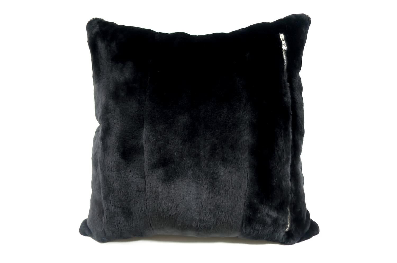 The Powder Snow 極上抱き心地 天然ミンク綿毛クッション ブラック 45×45cm