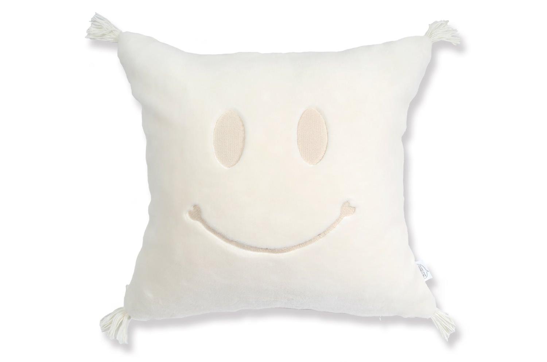The Smile スマイル 『ニコフェイス®』刺繍オーガニックコットンファークッション 40×40cm 中材付