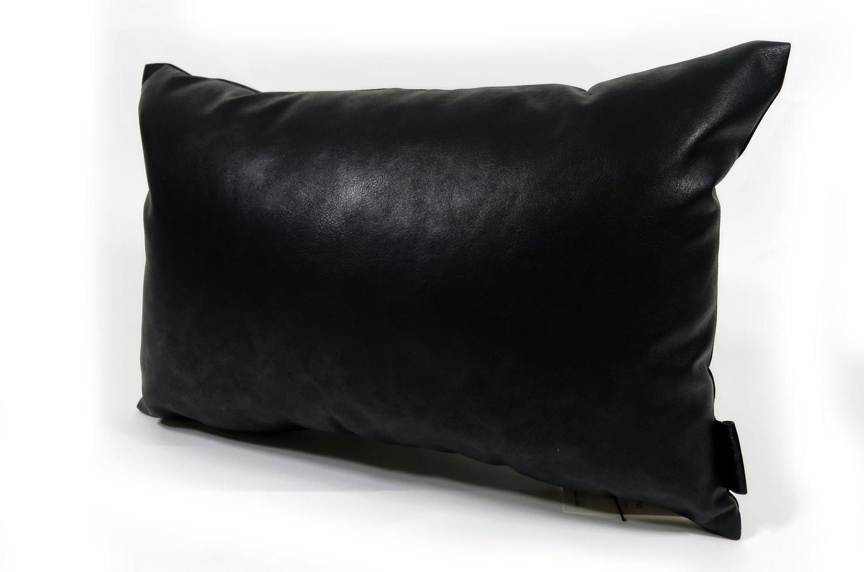高級Fake Leather Stone Black クッション 45×30 中材付