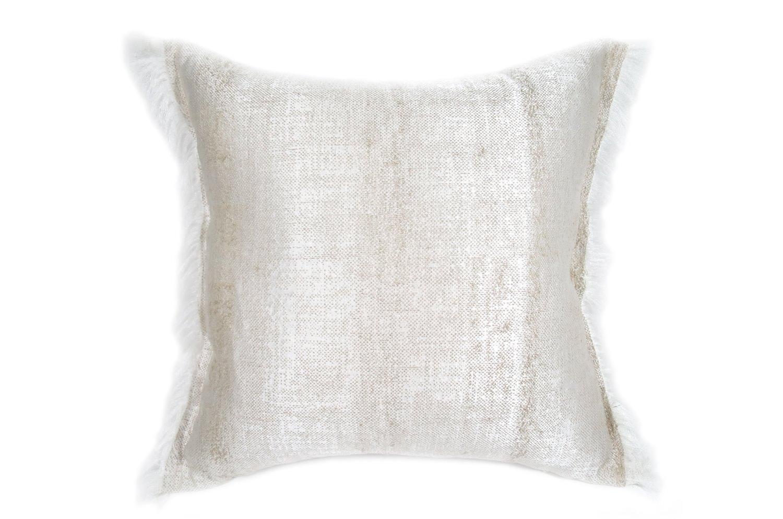 The ALDECO Linen Vanilla アルデコフリンジクッションカバー バニラホワイト 40×40cm